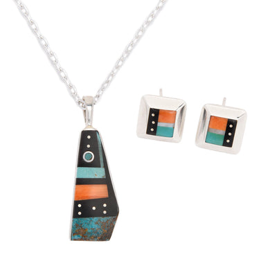 Jimmy Poyer Moon and Star Inlay Pendant Necklace