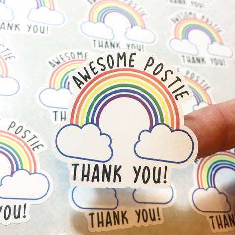 Close up of Awesome Postie Thank you rainbow design click and go stickers