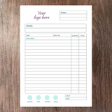 Inside page example of A5 order book with space for company logo at the top notes date description order number quantity and pricing information printed on supersmooth white paper