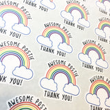 Sheet of Awesome Postie Thank you rainbow design click and go stickers