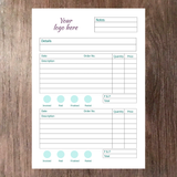 Inside page example of A5 order book with space for company logo at the top notes date description order number quantity and pricing information printed on supersmooth white paper with 2 tables of information