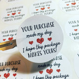 Close up of your purchase made my day i hope this package makes yours small business white and black thank you stickers with 3 red hearts
