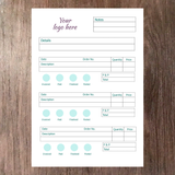 Inside page example of A5 order book with space for company logo at the top notes date description order number quantity and pricing information printed on supersmooth white paper with 3 small tables of information