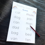 Jimmy Somers personalised easy consonant vowel consonant words to practice writing with 2 rainbow icons at the top of the sheet