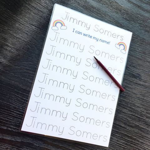Jimmy Somers personalised name tracing A4 sheet with 2 rainbows at the top of the sheet