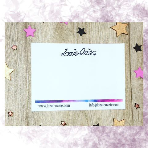 Lozzie Ozzie A6 branded notelet with multicoloured bottom bar branding and website and email information printed in black writing