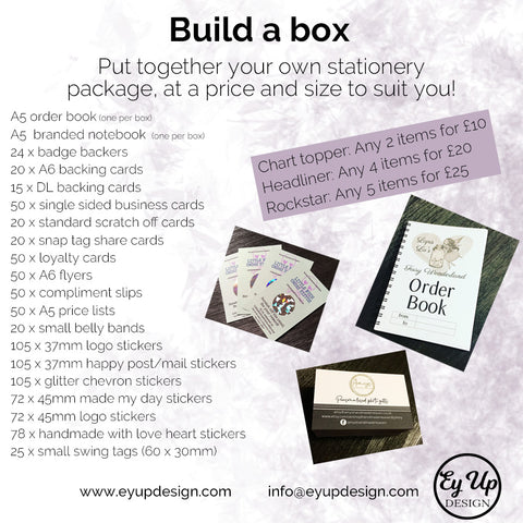 Build your own stationery box headliner infographic size to suit you