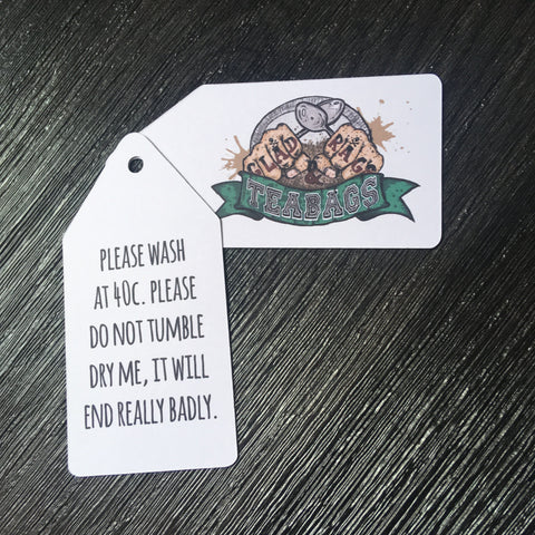 Gladrags and Teabags red green and black large luggage style washing instructions swing tag printed on white card with 5mm round central hole