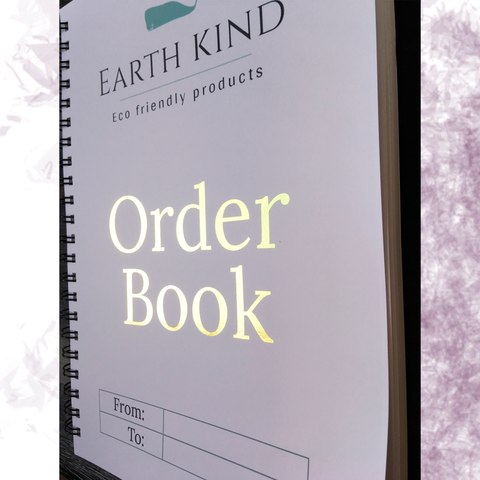 Earth Kind Eco friendly products white with green company logo A4 wire bound order book with gold foiled order book lettering