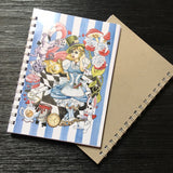 Front and back cover of Alice in Wonderland branded A5 notebook with white wirebound spine and plain kraft card coloured back cover