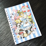 Branded multicoloured Alice in Wonderland A5 notebook with wirebound spine