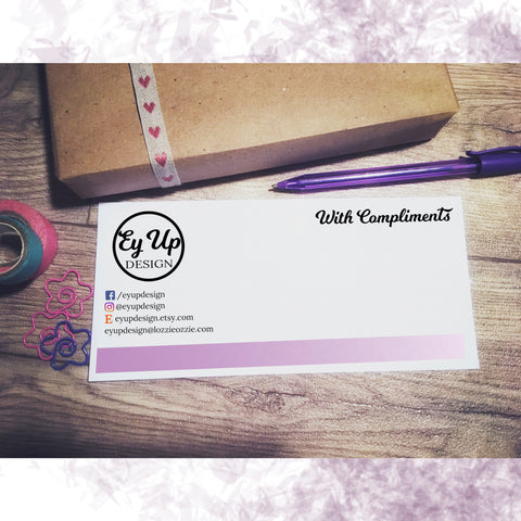 Ey Up Design purple bottom bar gradient compliment slip with social media information and website address