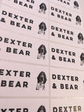 Custom shape Dexter and Bear black and white sticker