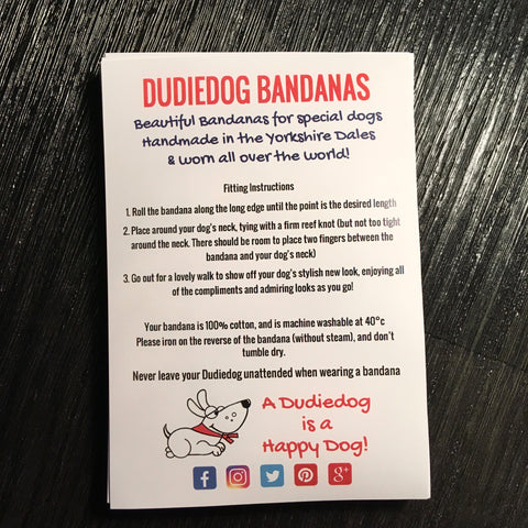 Dudiedog Bandanas A5 fitting instructions flyer with red and black lettering Dudiedog image and social media icons