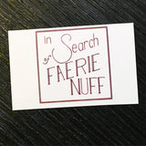 In Search of Faerie Nuff deep red and white standard business cards