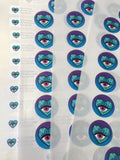 Sheet of blue green and red heart and eye custom round stickers