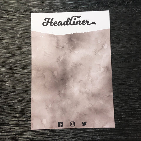 Headliner A5 rose and white coloured backing card with Facebook, Instagram and Twitter icon