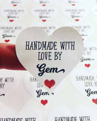 Handmade with Love by... heart stickers