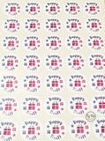 Sheet of 35 Happy Mail pink and blue watercolour click and go stickers with gift box icon in the middle of each sticker