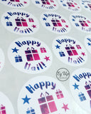 Close up of Happy Mail pink and blue watercolour circular click and go sticker with gift icon in the middle and one blue and one pink star