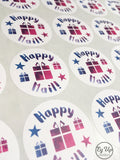 Sheet of Happy Mail pink and blue watercolour circular click and go sticker with gift icon in the middle