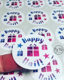 Close up of Happy Mail pink and blue watercolour circular click and go sticker with gift icon in the middle