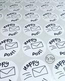Sheet of Happy Post black and white circular click and go stickers