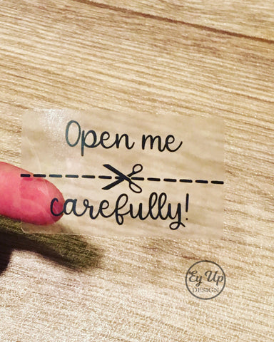 Clear open me carefully stickers.