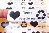 Please recycle me stickers. Made from recycled paper.