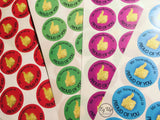 Proud of you thumbs up circular coloured stickers