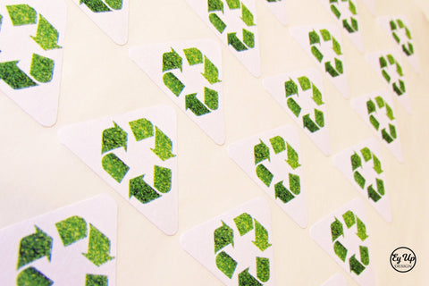 Green glitter recycling stickers. Made from recycled paper.
