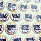 Gold pink and white round chocolate mug cake stickers
