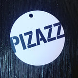 White and blue Pizazz round swing tag with 5mm round role printed on white card