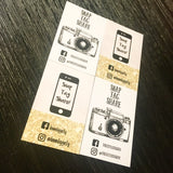 2 different designs of snap tag and share cards with phone and camera information Facebook and Instagram information printed on white supersmooth card and kraft card