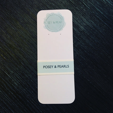 Posey and Pearls white and jade green drop earring backer card with punched holes, rounded corners and branded belly band