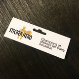 Black and white with Gold logo Sticker Hero champions of stickers for every occasion tab topper with euroslot hole