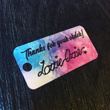 Multi pastel coloured thanks for your order small rectangular swing tag with 5mm round hole printed on white card