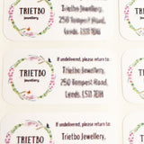 Trietbo Jewellery green and pink floral circle return address label on white background