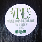 Vines white and green round business cards with social media information