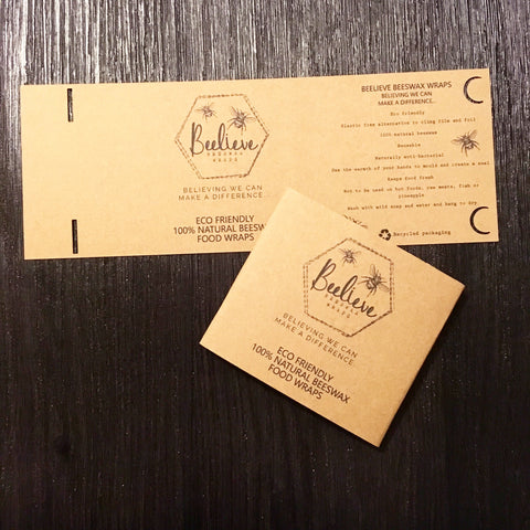 Beelieve beeswax wraps logo printed on kraft card extra large belly bands