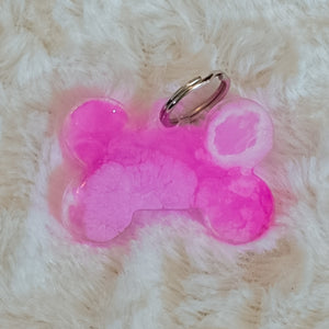 Pink and White Tie Dye Small Dog Tag