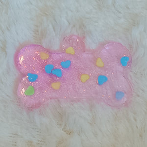 Translucent Pink Glitter Heart 3 Dog Tag
