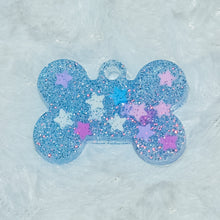 Load image into Gallery viewer, Blue Glitter Stars 1 Small Dog Tag