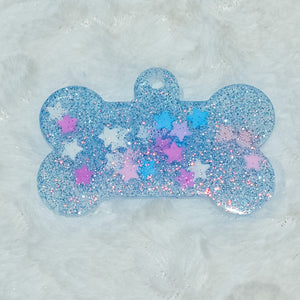 Blue Glitter Stars Dog Tag