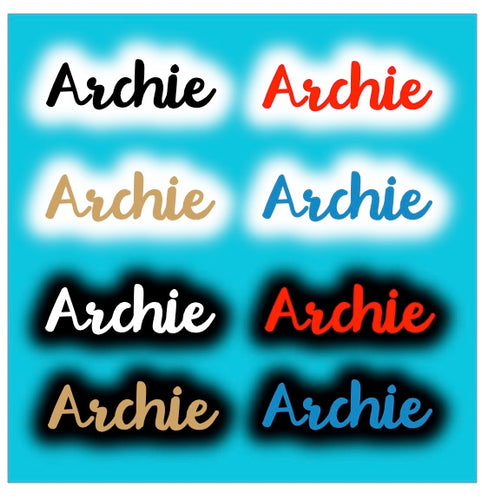 Major Outline Script Letters Name Add On