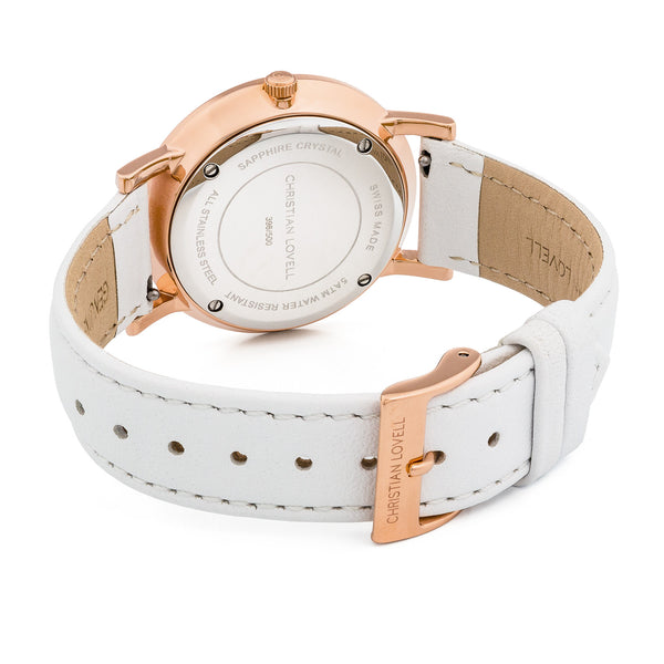Premiere White Leather Rose Gold w/ Black Dial