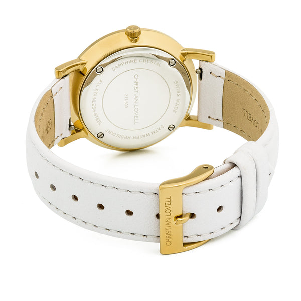 Premiere White Leather Gold w/ Guilloche Dial