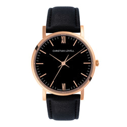 Premiere Black Leather Rose Gold w/ Black Dial