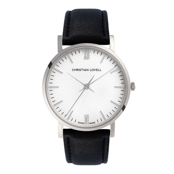 Premiere Black Leather Silver w/ Guilloche Dial