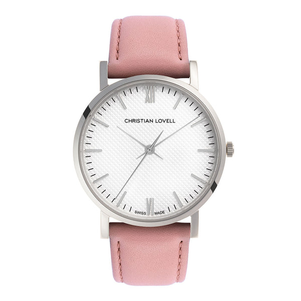 Premiere Pink Leather Silver w/ Guilloche Dial